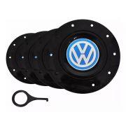 Kit Calota Centro Roda VW Azul Aro 13 15 Amarok + Chave
