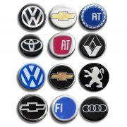 Kit Emblema Roda 51mm Resinado Vw Gm Peugeot