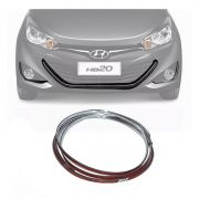 Kit Friso Cromado Grade Inferior + Grade Milha Hyundai Hb20