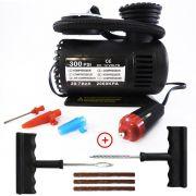 Kit Reparo Pneu + Mini Compressor Ar 12v 300psi Carro Moto