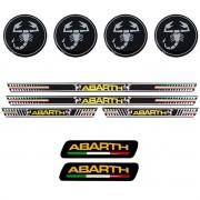 Kit Resinado Abarth Soleira + Emblema + Adesivo Roda Preto