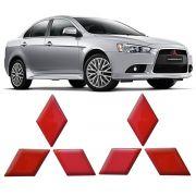 Par Adesivo Emblema Resinado Mitsubishi Lancer - Vermelho