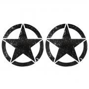 Par Adesivo Estrela Militar Corroída Preto