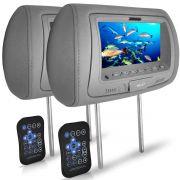 Par Encosto Cabeça Cinza Tela LCD 7 Usb Aux Controle Diadema