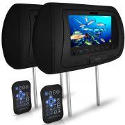Par Encosto Cabeça Preto Tela LCD 7 Usb Aux Controle Diadema
