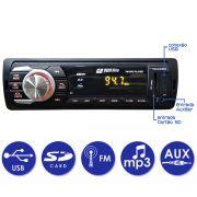 Rádio Som Automotivo Carro MP3 FM USB SD Tela LED Bluetooth