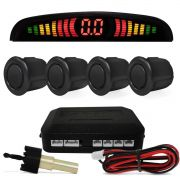 Sensor Estacionamento Ré 4 Sensores Display Led Carro Preto