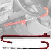 Trava De Carro Antifurto Segurança Pedal Volante Universal Vermelha