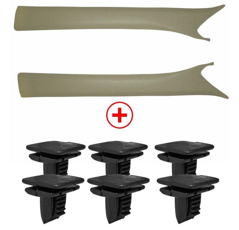 Kit Acabamento Coluna Parabrisa Omega Gelo + Grampo Fixação