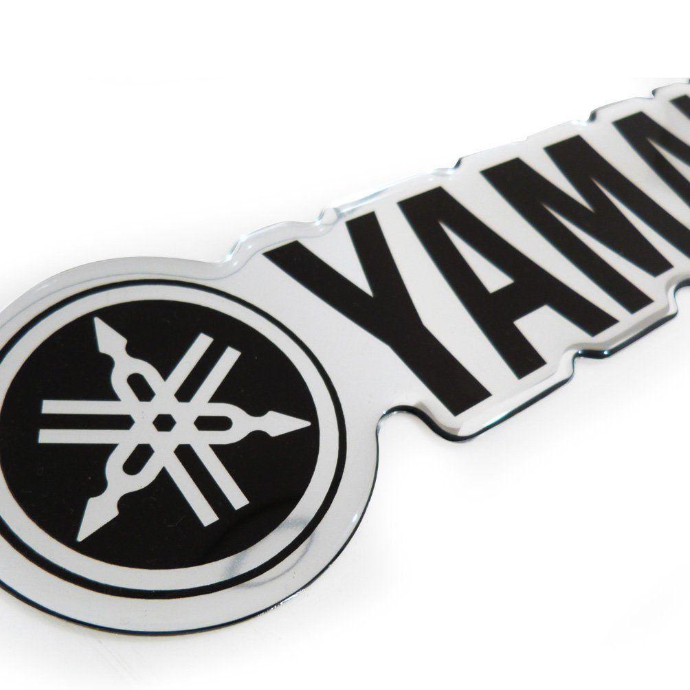 Adesivo Resinado Emblema Yamaha Jet Ski Cromado Preto
