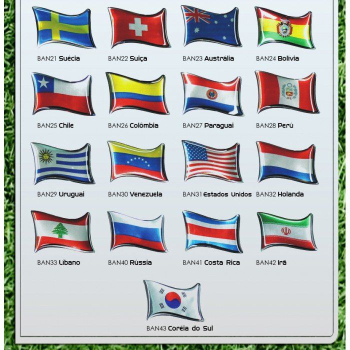 Emblema Bandeira País Adesivo Resinado Etiqueta - Diadema SP