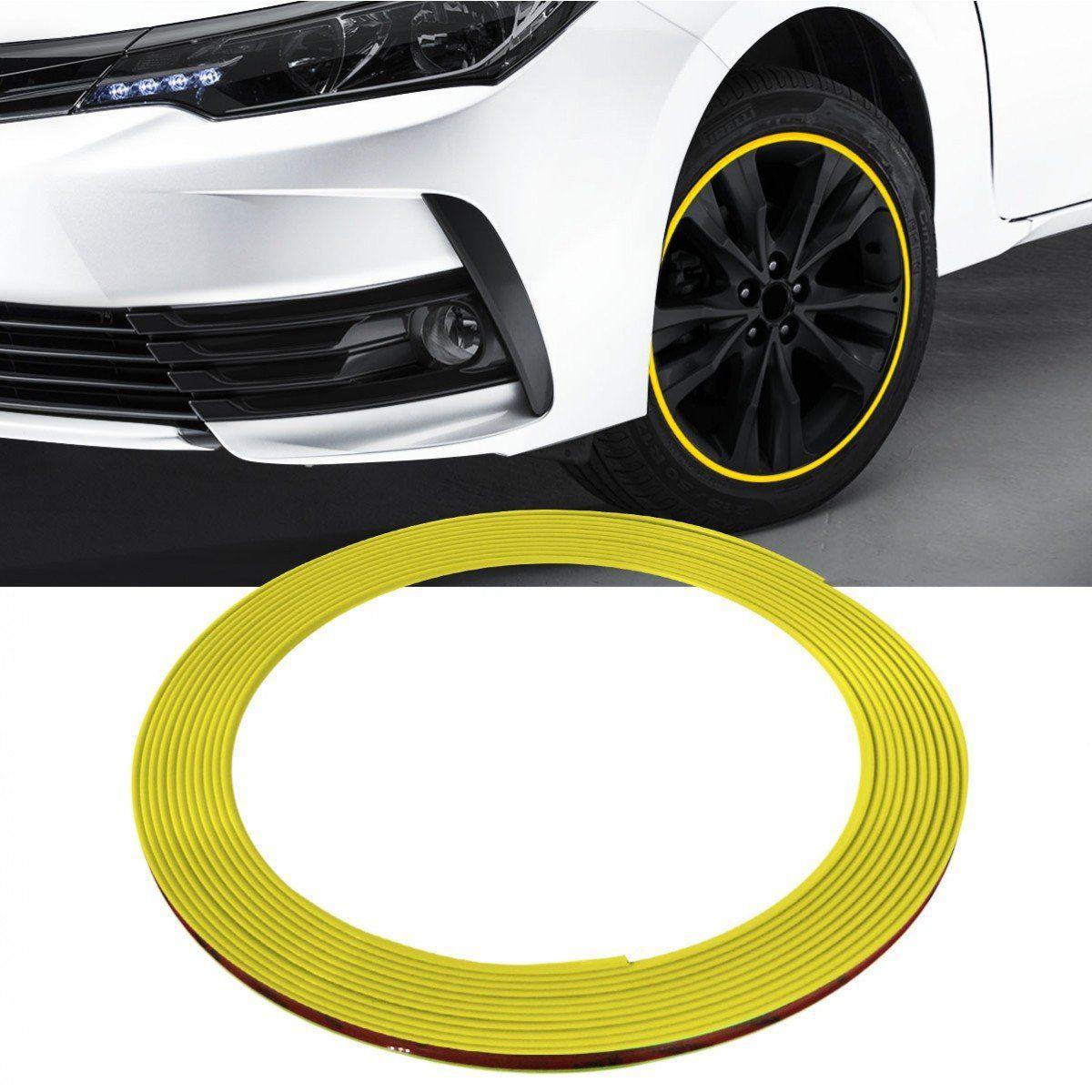 Friso Protetor Roda Liga Leve Esportiva Tuning 8m - Amarelo