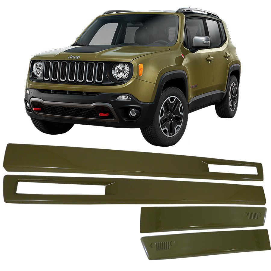 Jogo Friso Lateral Jeep Renegade Verde Commando