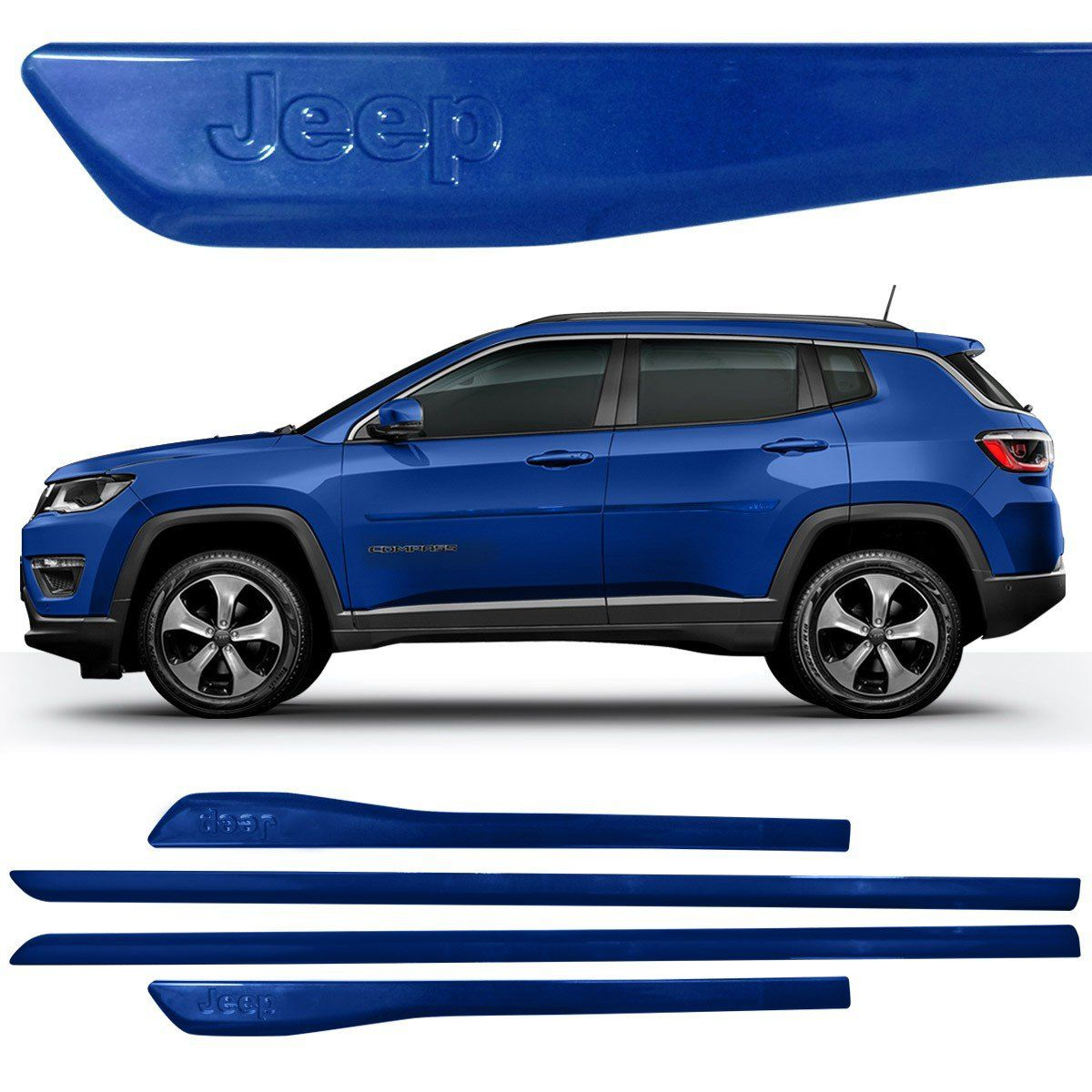 Jogo Friso Lateral Pintado Compass Logo Jeep Azul Pacific