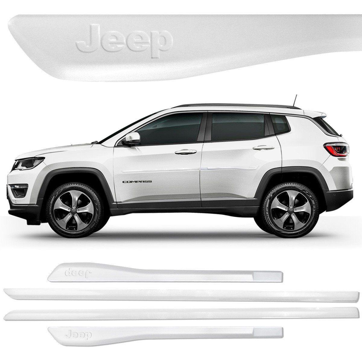 Jogo Friso Lateral Pintado Compass Logo Jeep Branco Ambiente