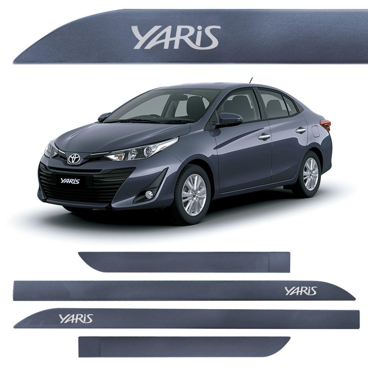 Jogo Friso Lateral Toyota Yaris Azul Titã