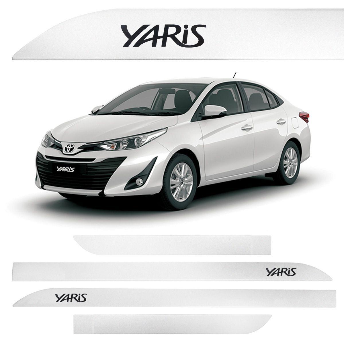 Jogo Friso Lateral Toyota Yaris Branco Perola
