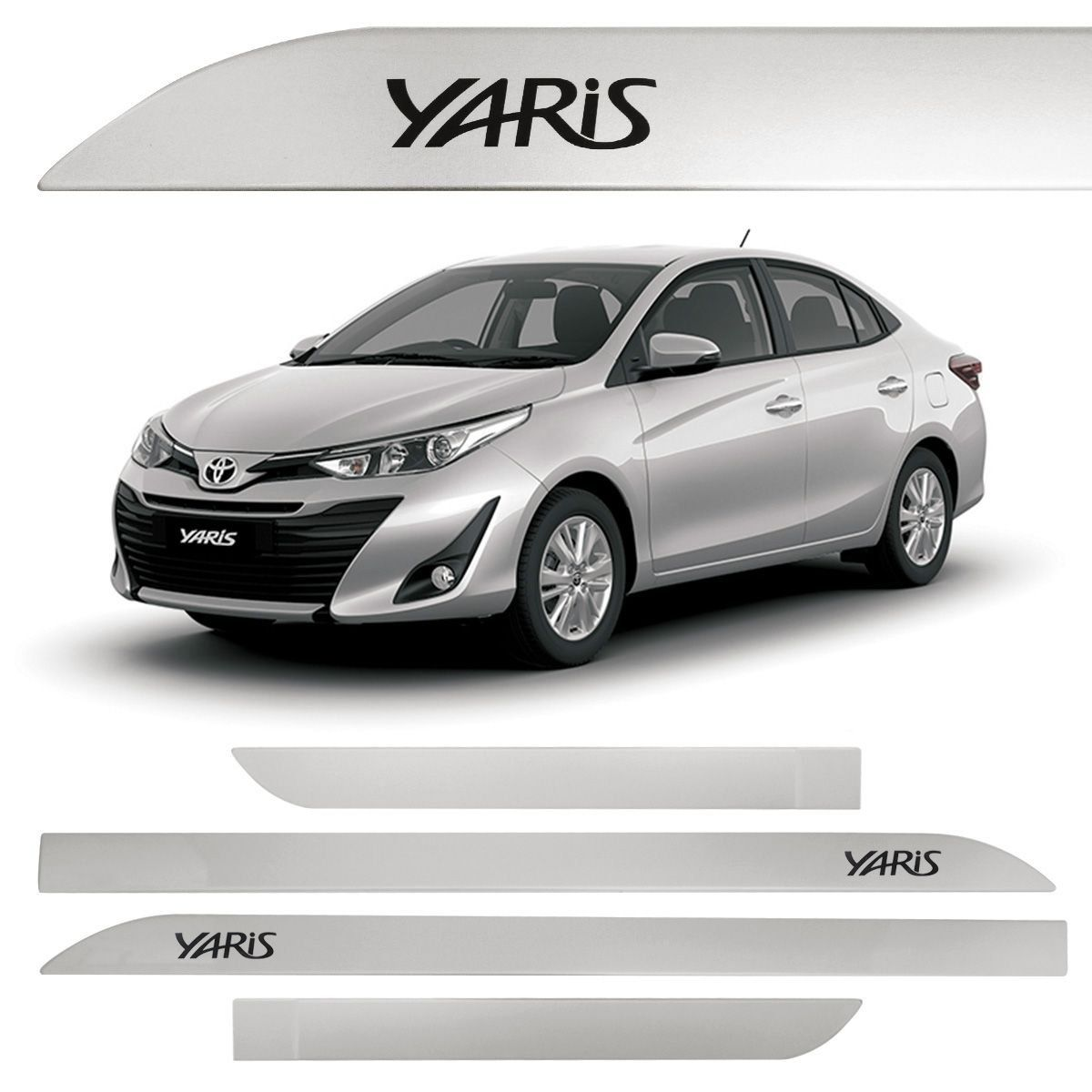 Jogo Friso Lateral Toyota Yaris Prata Premium