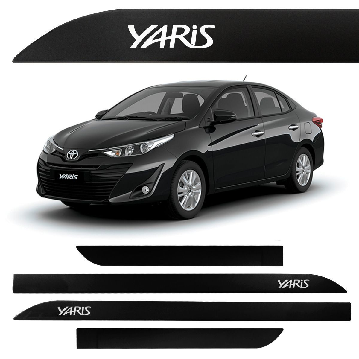Jogo Friso Lateral Toyota Yaris Preto Infinito