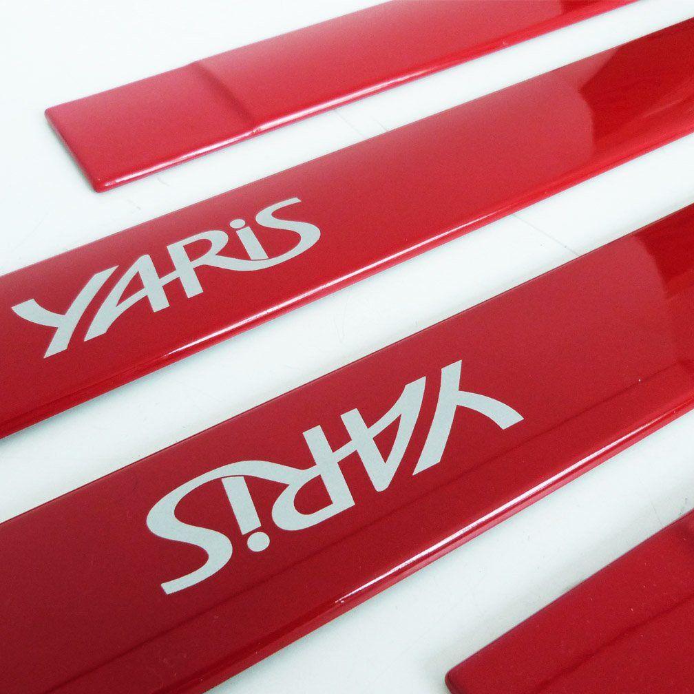 Jogo Friso Lateral Toyota Yaris Vermelho Super