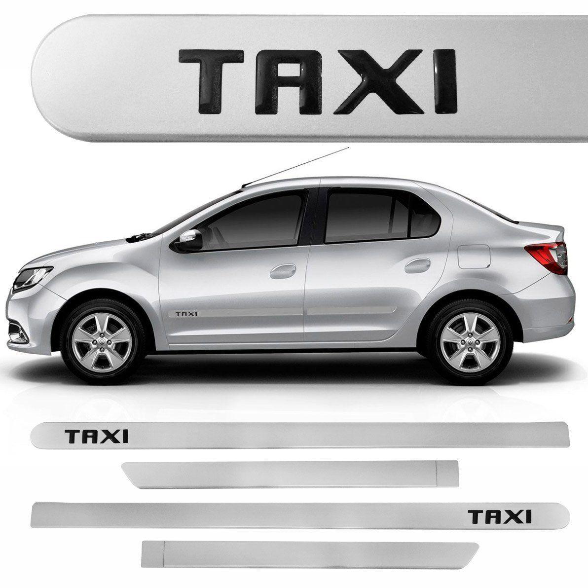 Jogo Friso Lateral Universal Escrita Taxi Resinado - Prata