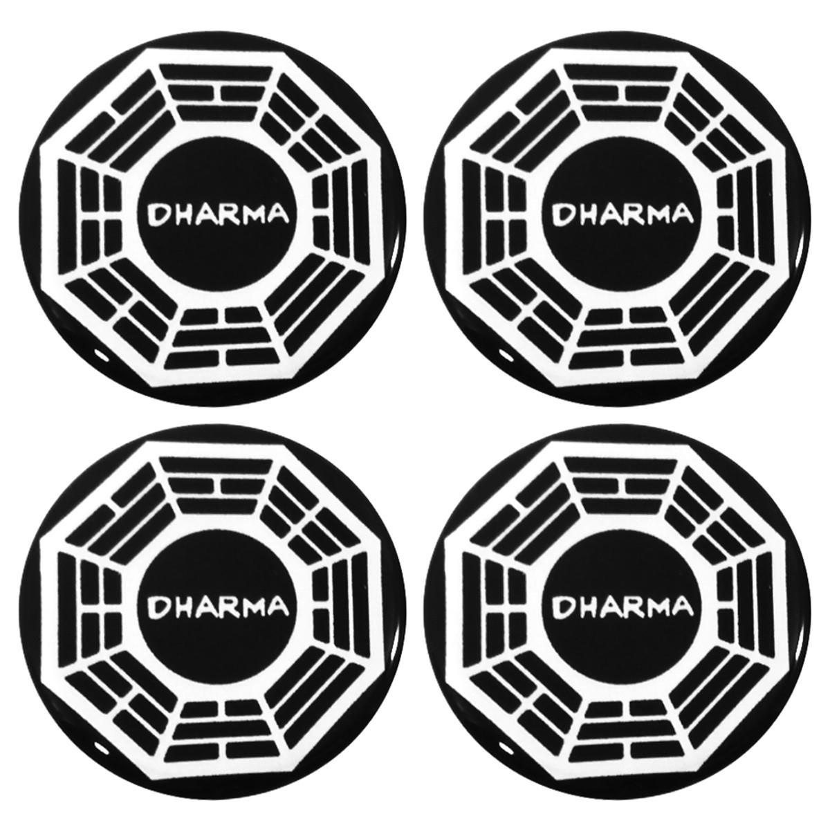 Kit 04 Emblema Roda 48mm Resinado Dharma Darma