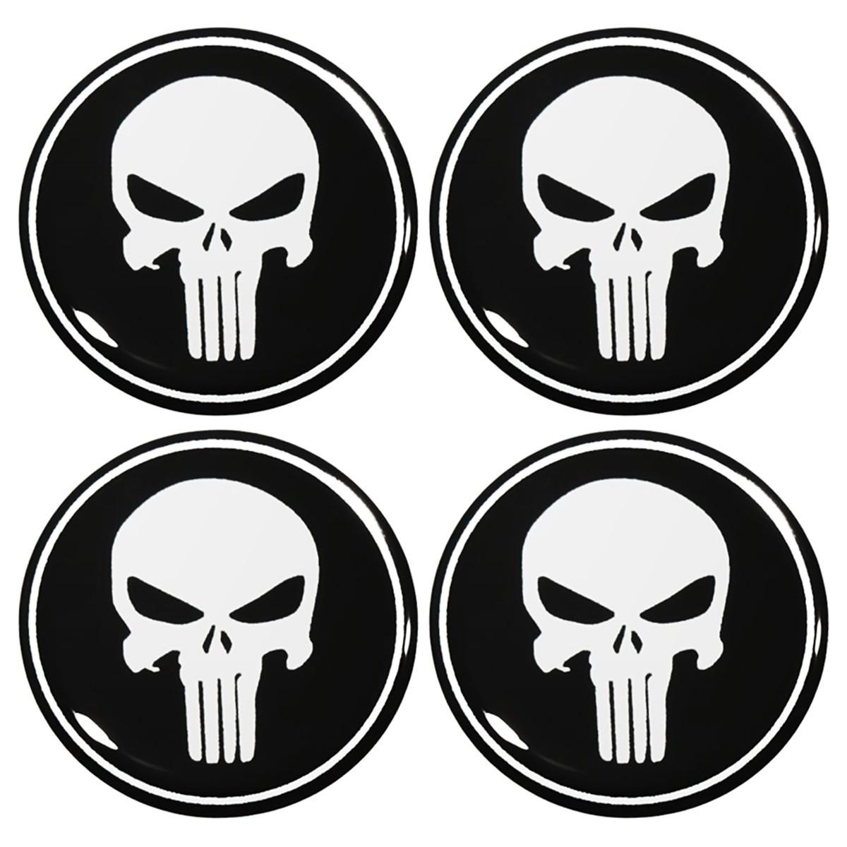Kit 04 Emblema Roda 48mm Resinado Justiceiro Punisher