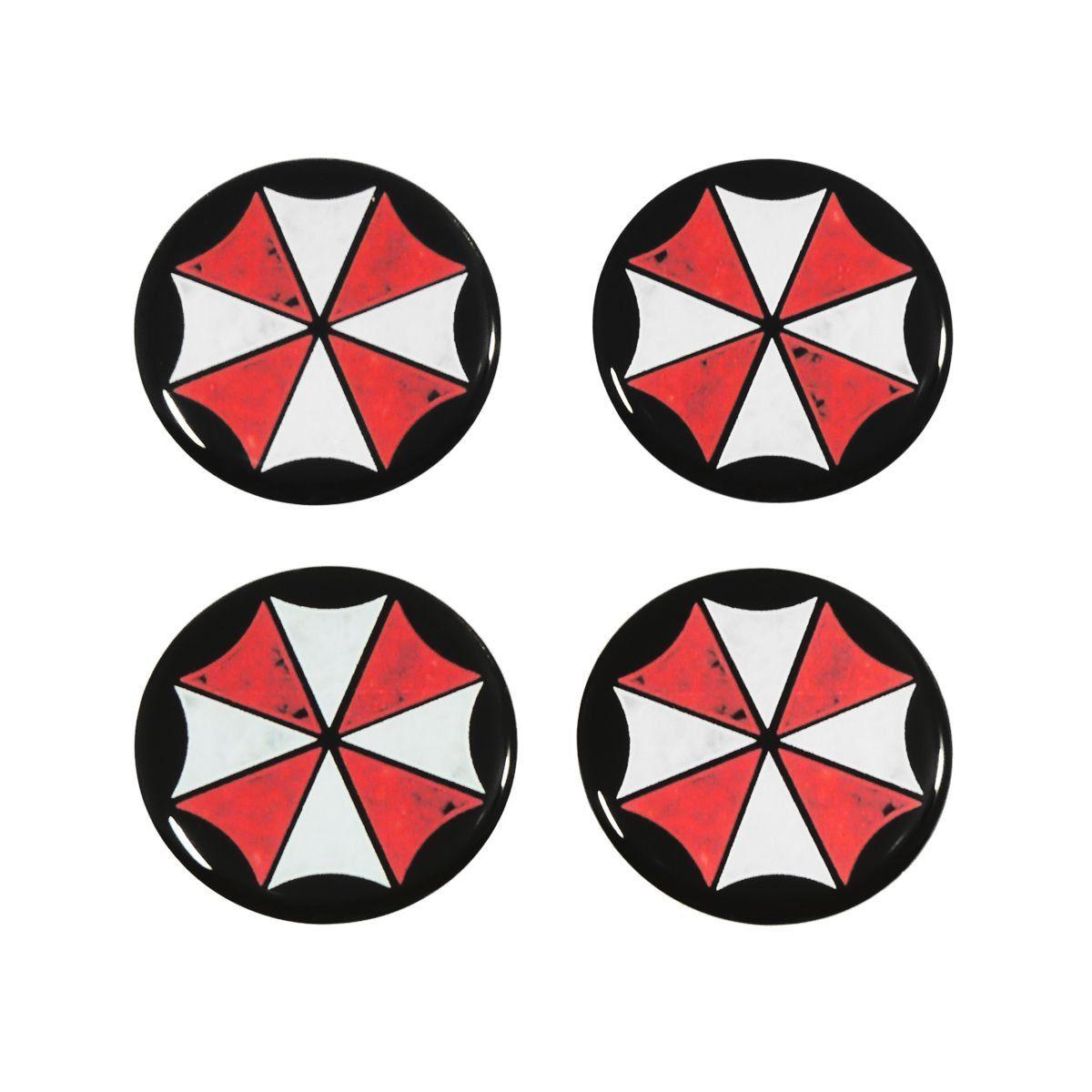 Kit 04 Emblema Roda 48mm Resinado Umbrella Resident Evil