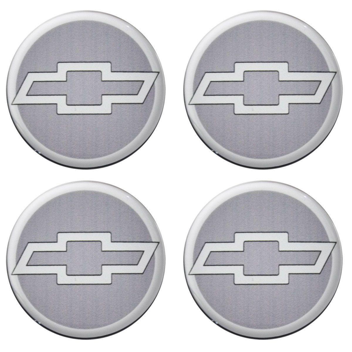 Kit 4 Adesivo Emblema Logo Resinado Calota Gm 55mm - Cinza