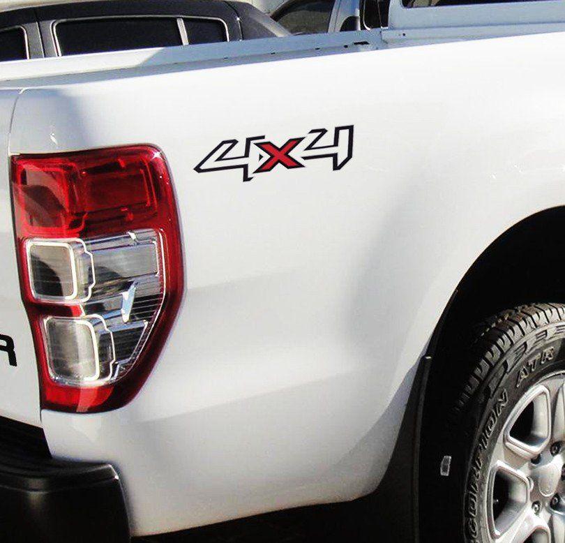 Kit Emblema Adesivo Ranger + 4x4 2013 2014 15 16 17 - Preto