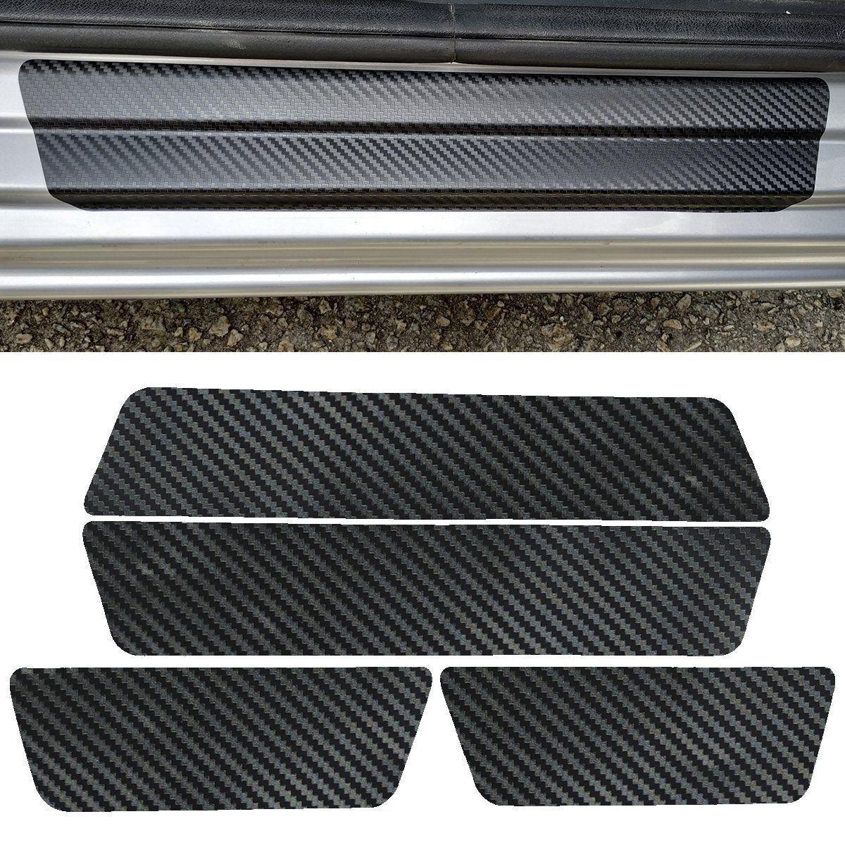 Kit Soleira Protetora Porta Adesivo Carbono Universal - 4pçs