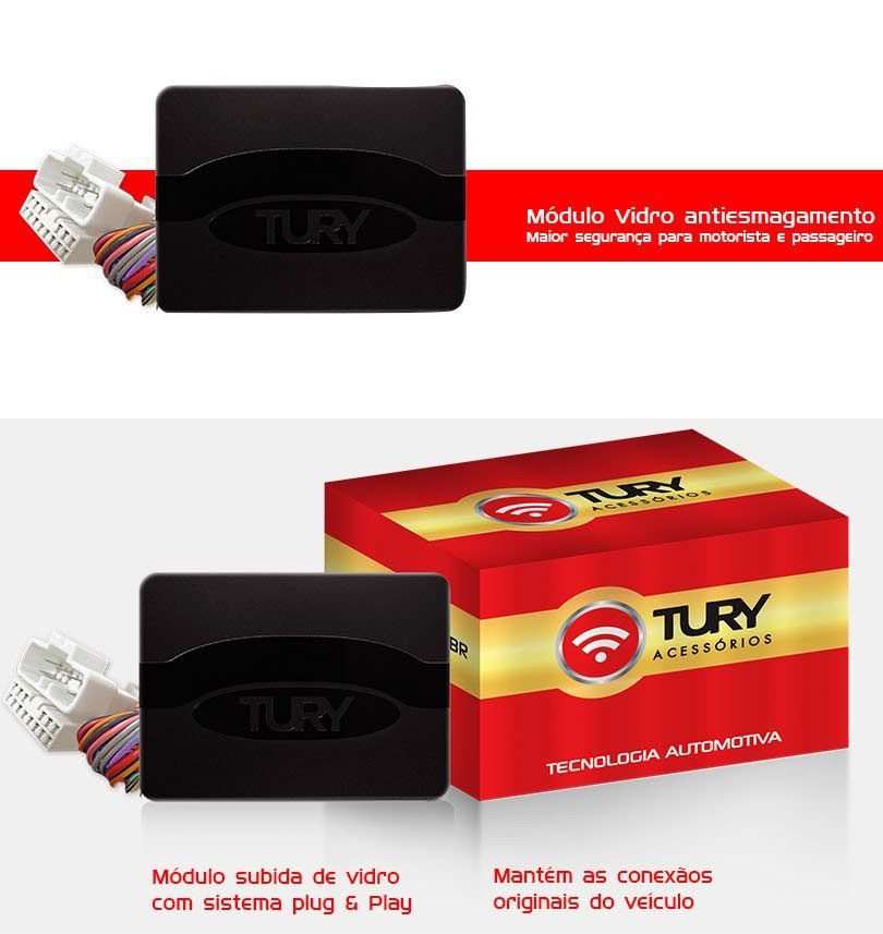 Módulo Vidro Antiesmagamento Plug&Play Elantra 2017 2018