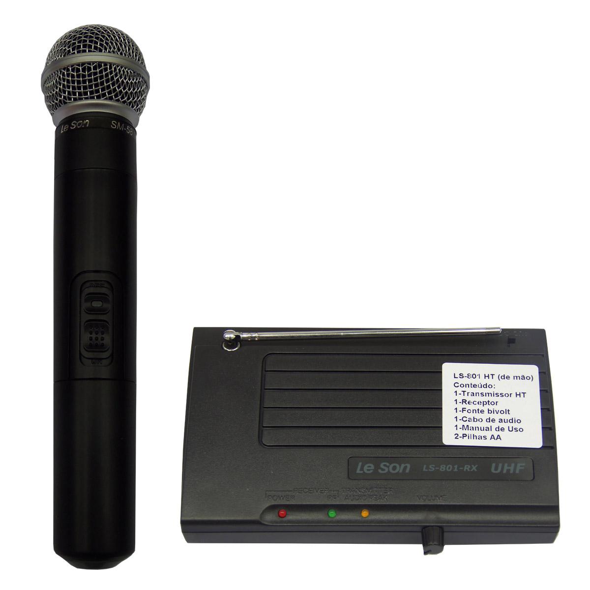 Microfone s/ Fio de Mão UHF - LS 801 HT Le Son