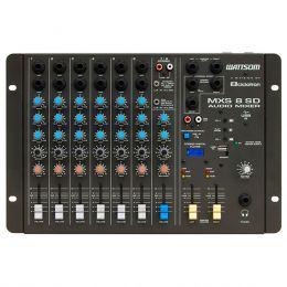 Mesa de Som 8 Canais (6 P10 Desbalanceados + RCA) c/ USB Play / 1 Auxiliar MXS 8 SD - Ciclotron