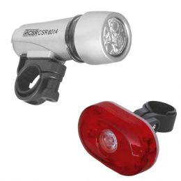 Kit de Lanternas para Bicicleta 5 LEDs Frente e Trazeira HX 8014 - CSR