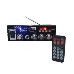 Amplificador de Potência RC01BT Bluetooth, USB, FM com entrada Microfone 60W Sound Voice