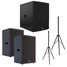 Kit 3 Caixas Mark Audio sendo um SA1200 Ativa + duas CA600 Ativa + 2 Tripés VOXTCSSLIM