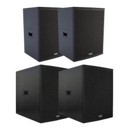 Kit 4 Caixas Mark Audio SA1200 Ativa + SP1200 Passiva + CA1200 Ativa + CP1200 Passiva + 2 Extensores SUPEXT508050KG