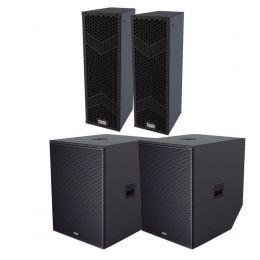 Kit 4 caixas Mark Audio 2 lines verticais HMK6 Ativa + 2 Sub MKS1810 ativo + 2 Extensores SUPEXT508050KG