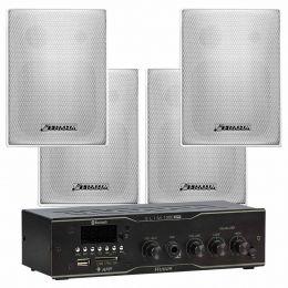 Amplificador Som Ambiente 40W + Caixa Passiva (4 Unidades) c/ Suporte - Kit Sonorização Slim 1000 APP + PS 200 Plus Frahm