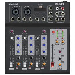 Mesa de Som 4 Canais Balanceados (2 XLR + 2 P10) c/ USB / Efeito / Phantom / 1 Auxiliar - LMX 0401 U Lyco