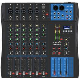 Mesa de Som 7 Canais Balanceados (5 XLR + 2 P10) c/ USB Play / Efeito / Phantom / 1 Auxiliar - LMG 0701 U Lyco