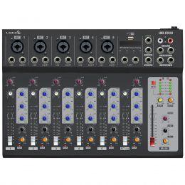Mesa de Som 7 Canais Balanceados (5 XLR + 2 P10) c/ USB Play / Efeito / Phantom / 1 Auxiliar - LMX 0701 U Lyco