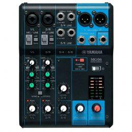 Mesa de Som Yamaha 6 Canais (2 XLR Balanceados + 4 P10 Desbalanceados) c/ Phantom MG06
