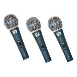 Microfone com Fio de Mão Dinâmico (3 Unidades) TRIO 50B SW - TSI