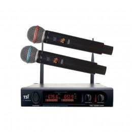 Microfone de Mão Duplo Sem Fio UHF TSI 1200 UHF