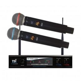 Microfone de Mão Duplo Sem Fio UHF TSI 900 UHF 96 Canais