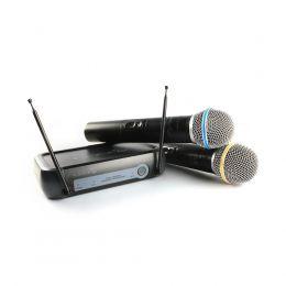 Microfone duplo de mão sem fio Lyco VHF Lyco VH02MAX-MM