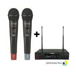Microfone sem Fio duplo de mão UHF TG8802MM 100 Canais TagSound