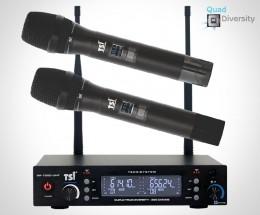 Microfone sem fio duplo TSI com 300 canais BR 7000 UHF